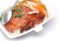 kotlecika opieczenia wieprzowiny ryż topview Obrazy Stock
