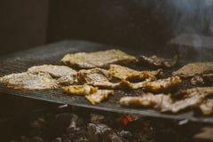 Kotletter för grisköttkött på grillfest Fotografering för Bildbyråer