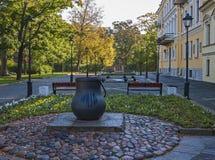 The Kotlin island, Kronstadt, Russia. City symbol - the cauldron. 25 Sep 2017. The Kotlin island, Kronstadt, Russia. City symbol - the cauldron. View of the Royalty Free Stock Photography