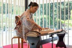 Koto Harpist Eri Muroi at Portland Japanese Garden Royalty Free Stock Photos
