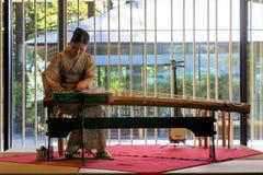 KotoHarpist Eri Muroi Performing på den Portland japanträdgården Royaltyfri Foto