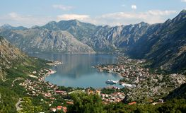 Kotor bay. Bay of Kotor panorama from the mountain (Lovcen), Montenegro, Europe royalty free stock photo