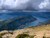 Kotor bay aerial view Stock Images