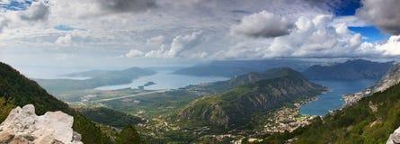 Kotor bay aerial view Stock Photo