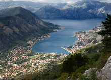 Kotor bay aerial view Royalty Free Stock Photography
