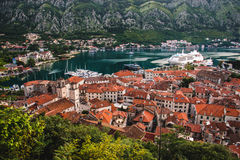 Kotor Bay And Old Town Rooftops High View Stock Photos