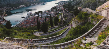 Kotor Bay And Old Town Wide Angle View Royalty Free Stock Photography