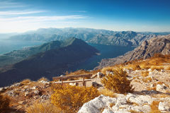 Kotor bay. Montenegro. Landscape. Bench above of mountain ridge royalty free stock image