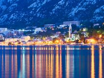 Kotor bay in Montenegro at night. Water reflexions royalty free stock photography