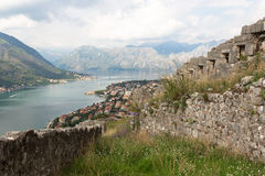 Kotor bay of Montenegro. View of Kotor bay from the old town Royalty Free Stock Image