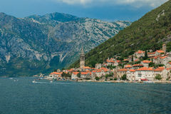 Kotor Bay, near Kotor. Montenegro. Nice view of the mountains and a small town near Kotor Royalty Free Stock Photography