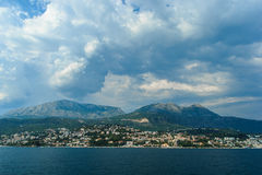 Kotor Bay, near Kotor. Montenegro. Nice view of the mountains and a small town near Kotor Stock Photography