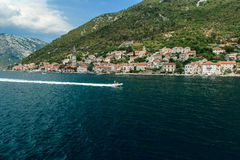 Kotor Bay, near Kotor. Montenegro. Nice view of the mountains and a small town near Kotor Royalty Free Stock Photos