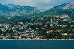 Kotor Bay, near Kotor. Montenegro. Nice view of the mountains and a small town near Kotor Stock Photos