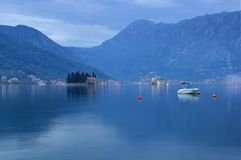 Kotor bay and Perast in Montenegro - blue hour stock photo
