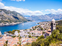 Kotor bay and Old Town from Lovcen Mountain. Montenegro. Royalty Free Stock Photo