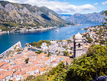 Kotor bay and Old Town from Lovcen Mountain. Montenegro. Royalty Free Stock Photography