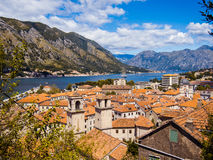 Kotor bay and Old Town from Lovcen Mountain. Montenegro. Stock Images