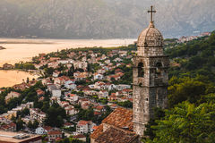 Kotor Bay and Old Town Top View Stock Image