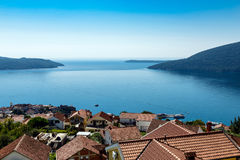 Kotor bay seascape. Adriatic sea and Kotor bay seascape, Montenegro stock photography