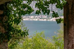 Kotor bay seascape on a background of mountains, Montenegro.  royalty free stock photography