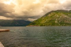 Kotor bay seascape on a background of mountains, Montenegro.  royalty free stock image