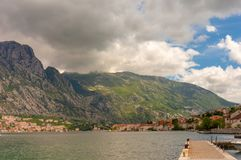 Kotor bay seascape on a background of mountains, Montenegro.  stock photo