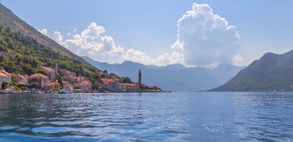 Kotor bay seascape, Montenegro. Kotor bay seascape and sky scape, Montenegro, old stone houses, church royalty free stock photography
