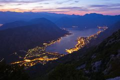 Kotor Bay on sunset - Montenegro Stock Photo