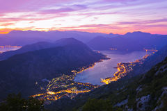 Kotor Bay on sunset - Montenegro. Nature and architecture background Stock Photography