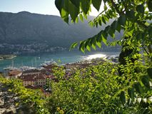 Kotor bay view. 750 steps above Kotor old city Royalty Free Stock Images