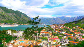 Kotor on the Bay. Vivid landscape: a top view of Kotor Bay surrounded by mountains Royalty Free Stock Photo