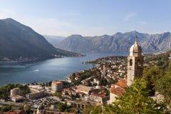 Kotor-Bucht ist der meiste schöne Platz in Montenegro Stockfotografie