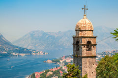 Kotor Church in Montenegro. View point of Montenegro bay with top of chapel or church on the foreground Royalty Free Stock Photography