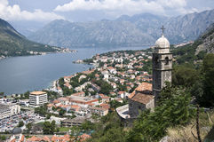 Kotor city and the chuch Stock Photos