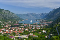 Kotor city and the ship in the Bay of Kotor Stock Images