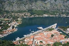 Kotor fjord. The southernmost fjord in Europe. View of Boka Kotorska fjord by old fort (Kotor, Montenegro Stock Photo