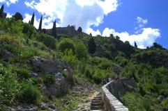 Kotor fortifications hikers,Montenegro Stock Photos
