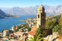 Kotor fortress. The view over the town and the bay of Kotor in Montenegro and the remains of the old Kotor fortress Stock Images