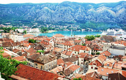 Kotor gulf in Adriatic sea. Old town Kotor in Montenegro on Adriatic seaside Royalty Free Stock Images