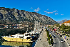 Kotor Harbor view with Boats Stock Photography