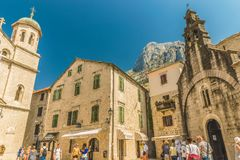 Kotor, Montenegro - August 24, 2017: Fragments of buildings and the church of St. Nicholas in the old town of Kotor, Montenegro. Royalty Free Stock Image