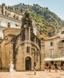 Kotor, Montenegro - August 24, 2017: Fragments of buildings and the church of St. Nicholas in the old town of Kotor, Montenegro. Royalty Free Stock Photos