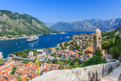 Kotor, Montenegro. Kotor bay and Old Town from Lovcen Mountain. Montenegro Stock Images