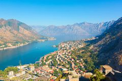Boka Kotorska bay. Montenegro. Kotor, Montenegro. Beautiful landscape. Scenic top view on one of the most popular places on Adriatic Sea. Boka Kotorska bay in royalty free stock photos