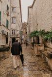 KOTOR, MONTENEGRO, 20.11.2018: Beautiful narrow streets of old town Kotor after rain, Montenegro. - Image royalty free stock photos