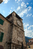 Kotor, Montenegro. At the entrance to the town of Kotor we were greeted by an old watch Royalty Free Stock Photos