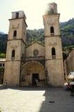 Kotor Montenegro - Juli 07, 2014: Domkyrka för St Tryphon Royaltyfria Foton