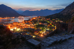 Kotor, Montenegro. Landscape of Kotor Gulf from the heights of the Kotor city walls in Montenegro at twilight Stock Images