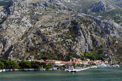 Kotor, montenegro. Old town of kotor, montenegro, with city walls and walls going up the mountain Stock Images